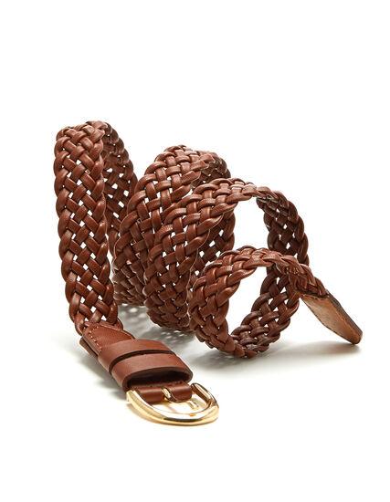 Brown Braided Belt, Brown, hi-res