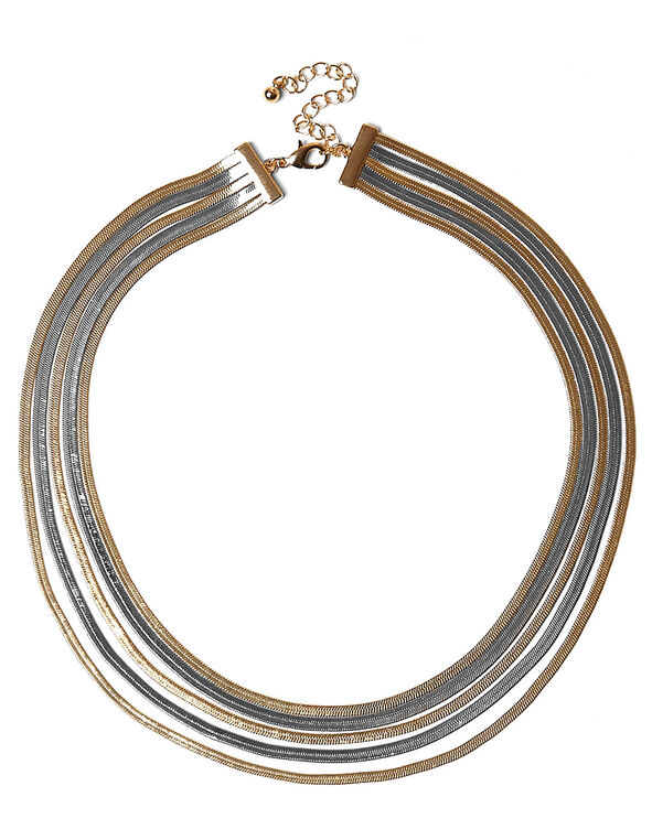 Silver & Gold Snake Chain Necklace, Silver/Gold, hi-res