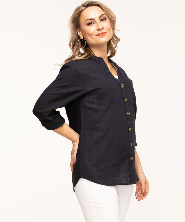 Navy Cotton Blend Tunic Blouse, Navy