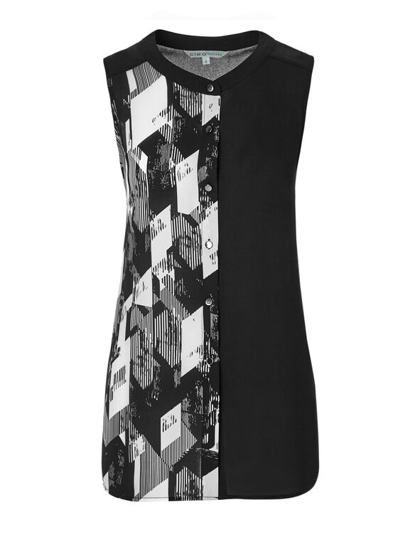 Abstract Button Front Blouse, Black/White, hi-res