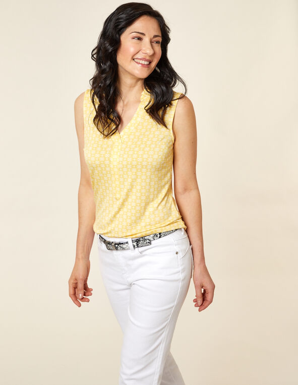 Citrus Geo Polo Top, Yellow/Citrus, hi-res