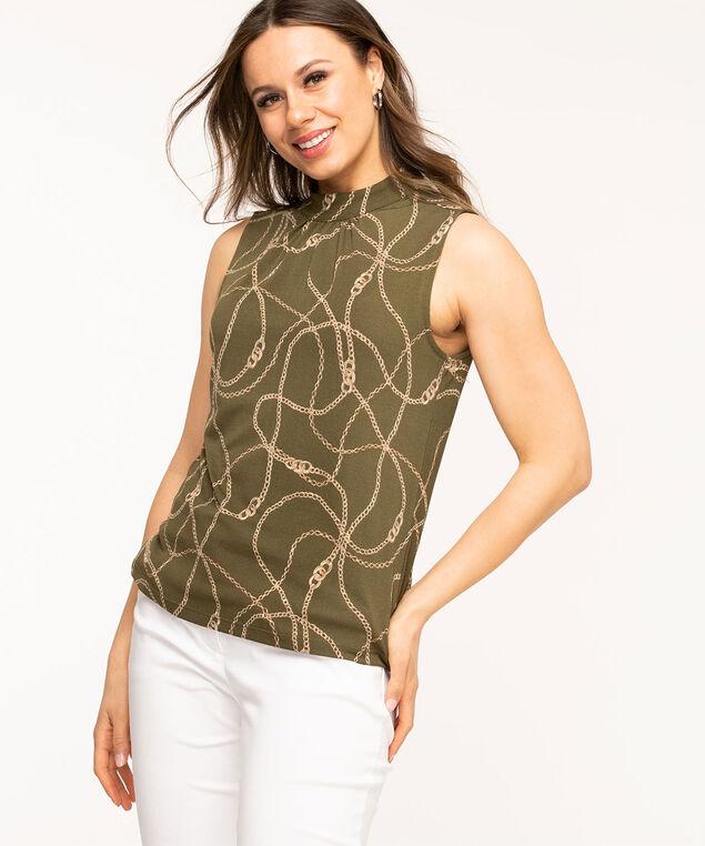 Sleeveless Gathered Mock Neck Top, Olive/Beige Print