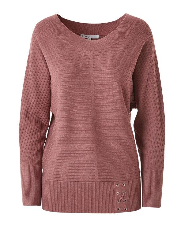 Pink Ribbed Dolman Sweater, Pink, hi-res