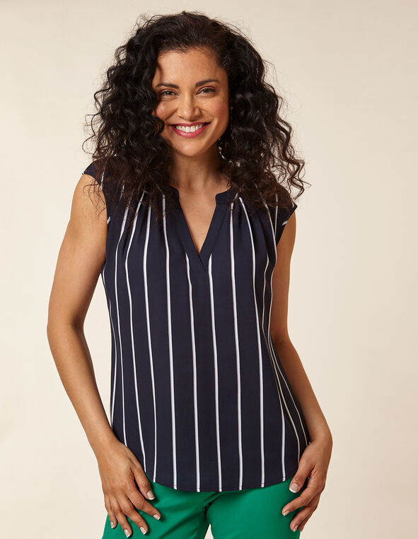 Navy Gathered Stripe Blouse, Navy, hi-res