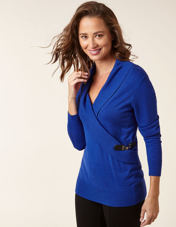 Sapphire Wrap Style Sweater, Blue, hi-res