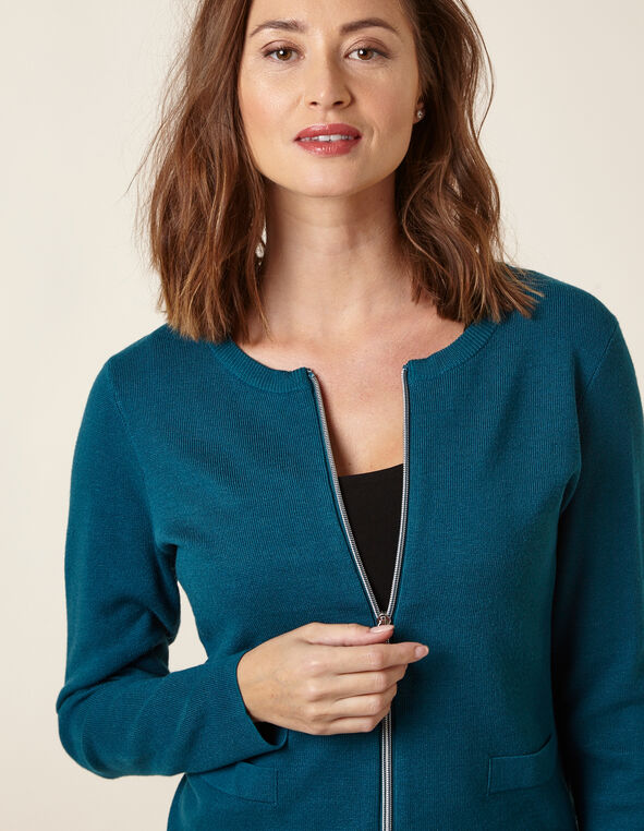 Teal Zipper Front Cardigan, Turquoise, hi-res