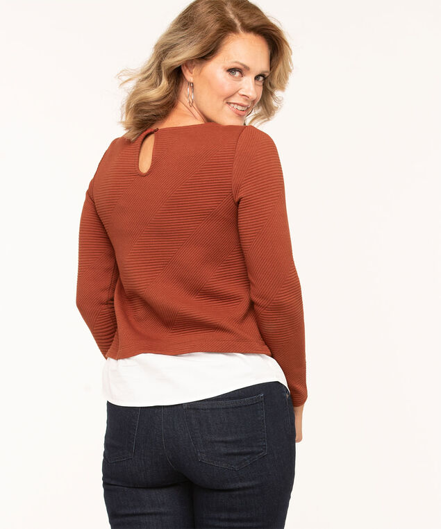 Asymmetrical Textured Fooler Top, Rust/White, hi-res