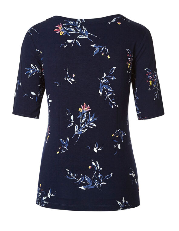 Navy Floral Crochet Sleeve Tee, Navy, hi-res