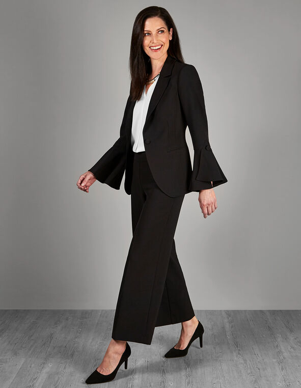 Black Draped Sleeve Blazer, Black, hi-res