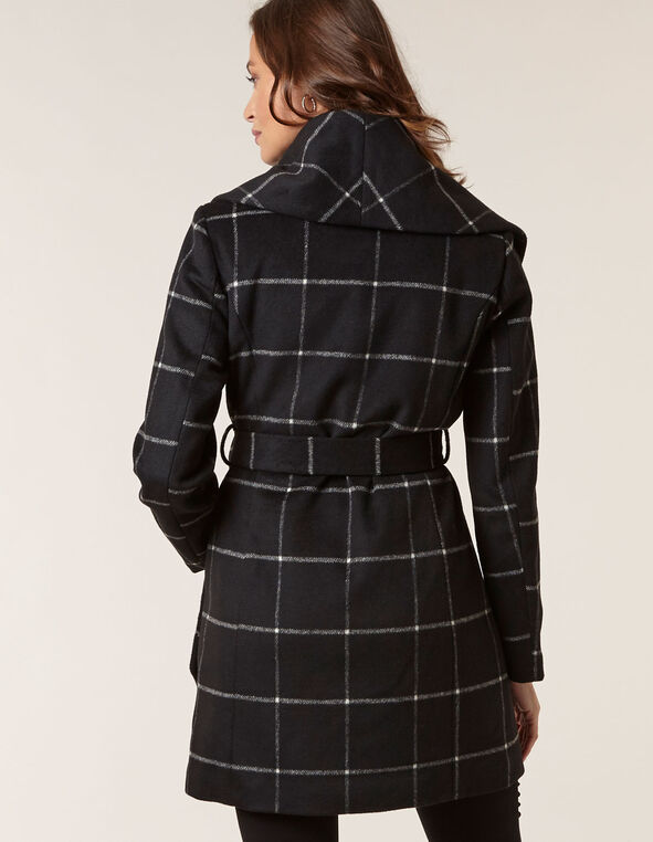 Black Wool Blend Plaid Wrap Coat, Black, hi-res