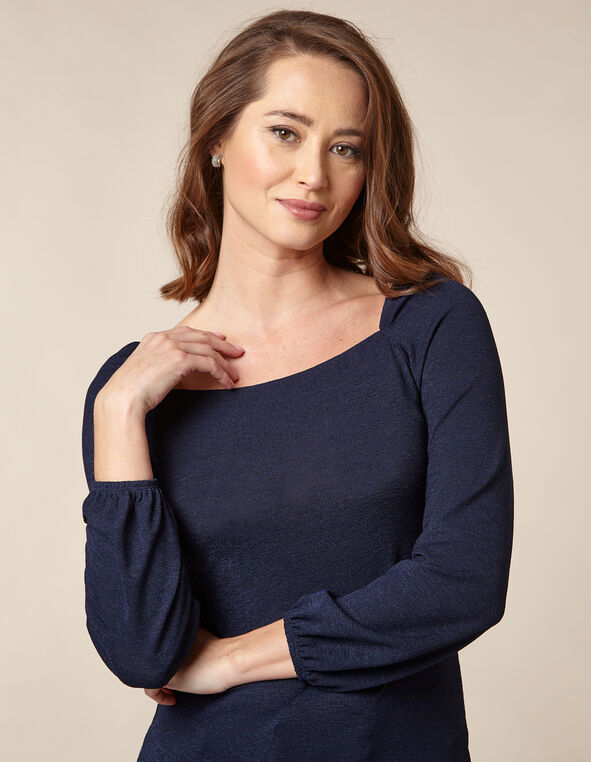 Navy Knit Poet Top, Navy, hi-res