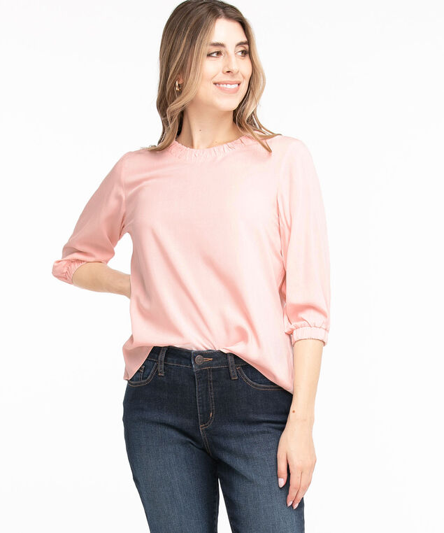 Ruched Scoop Neck Blouse, Soft Pink