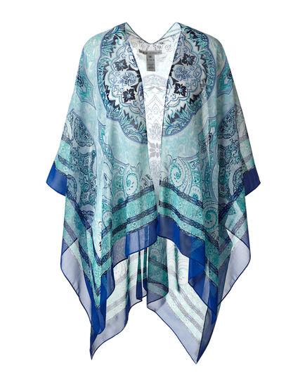 Blue Medallion Printed Kimono, Blue, hi-res