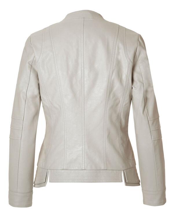 Neutral Split Faux Leather Jacket, Neutral, hi-res