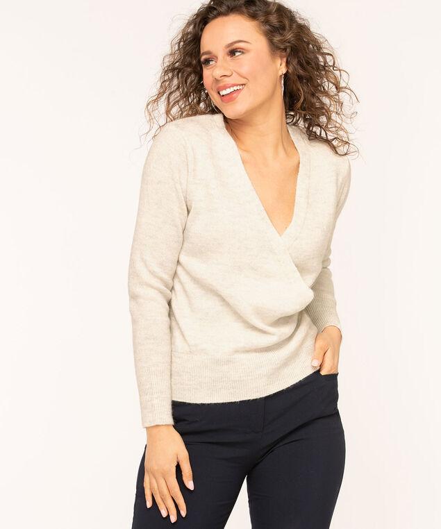 Ivory V-Neck Wrap Sweater, Ivory Mix, hi-res