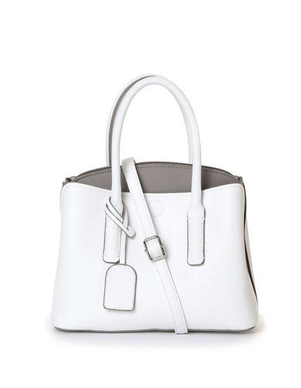 White Curved Colour Block Handbag, White/Grey, hi-res