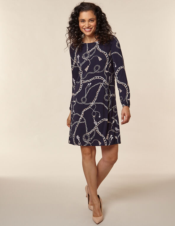 Navy Chain Printed Swing Dress, Navy, hi-res