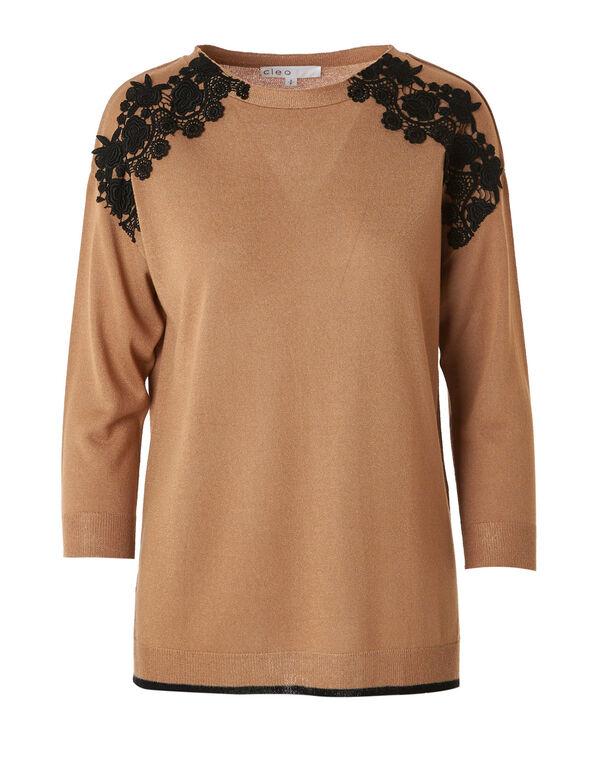 Camel Lace Detail Pullover, Camel, hi-res