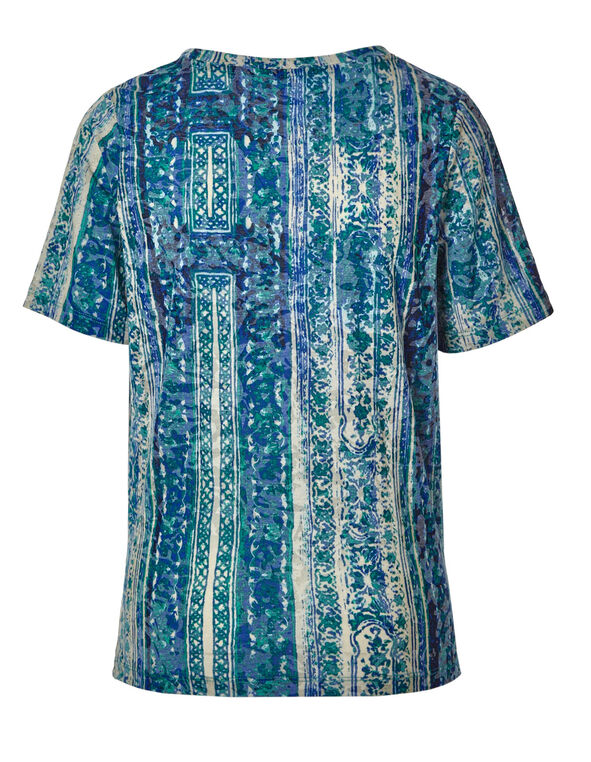 Blue Patterned Burnout Tee, Green/Blue, hi-res