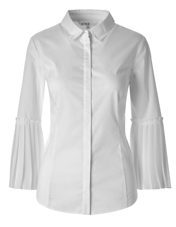 White Chiffon Sleeve Structured Blouse, White, hi-res