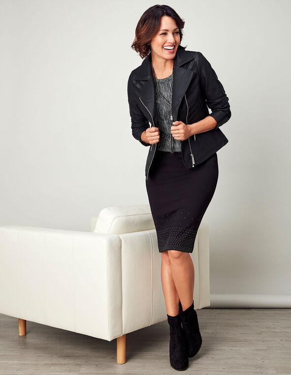 Black Studded Pencil Skirt, Black, hi-res