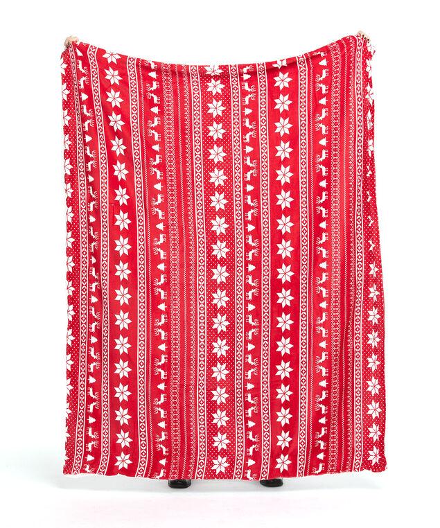 Fair Isle Plush Blanket, Red/White