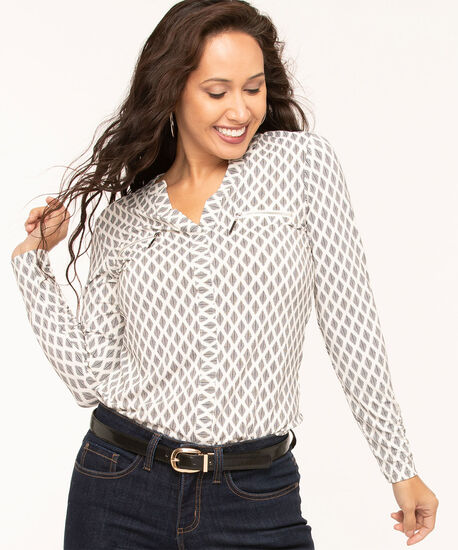Zipper Pocket Long Sleeve Top, Ivory/Black Print, hi-res