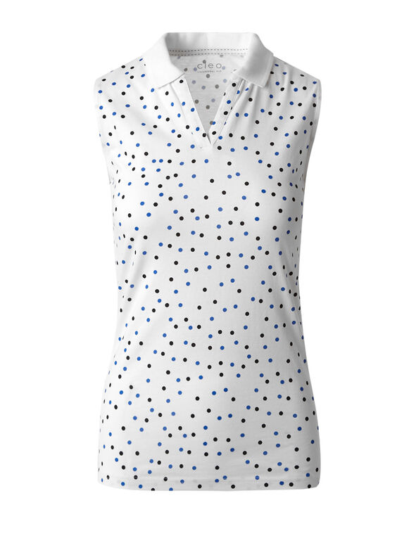 White Dotted Polo Tee, White, hi-res