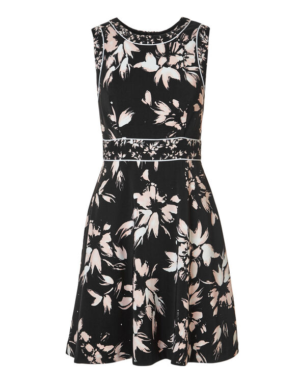 Black Floral Fit & Flare Dress, Pink/Ivory Floral, hi-res