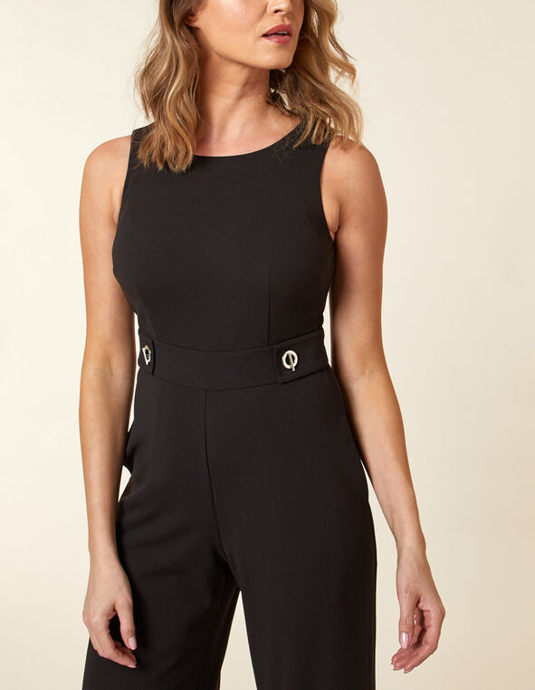 Black Scuba Crepe Jumpsuit, Black, hi-res