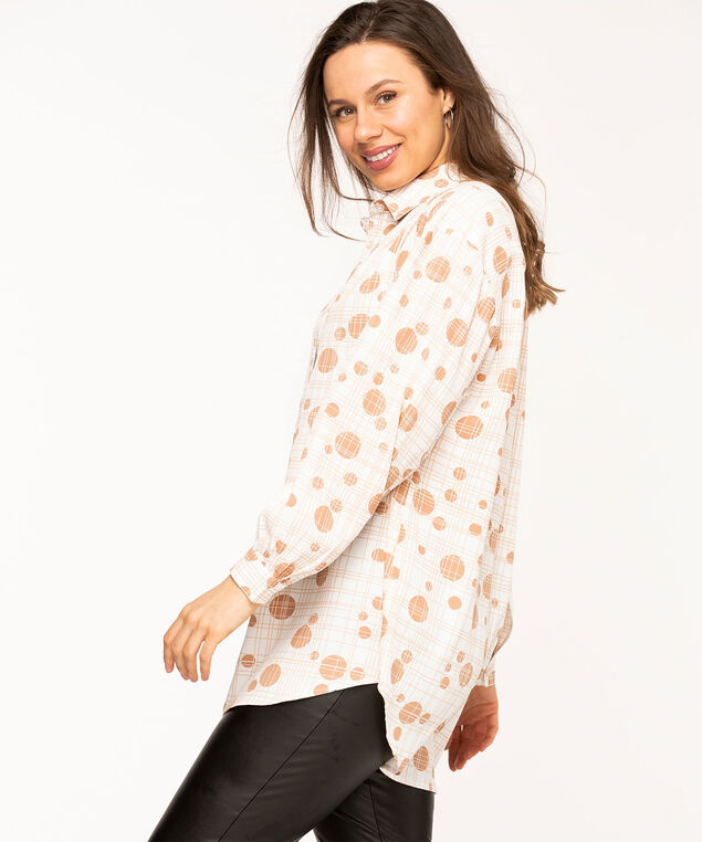 Geo Button Front Tunic Blouse, Ivory/Beige Geo