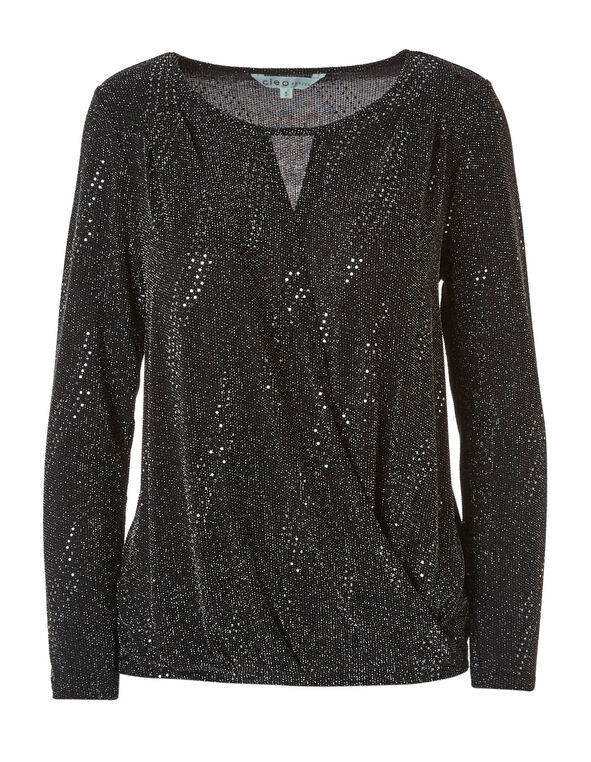Black Shimmer Wrap Front Top, Black, hi-res