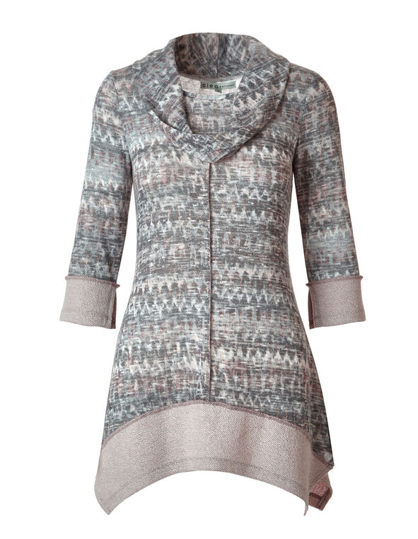 Neutral Patterned French Terry Tunic, Neutral, hi-res