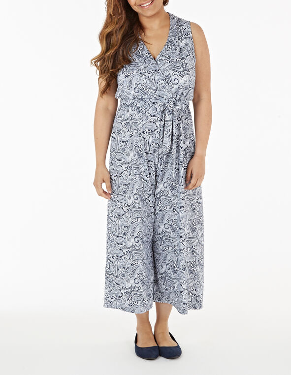 Blue Paisley Printed Jumpsuit, White/Blue, hi-res