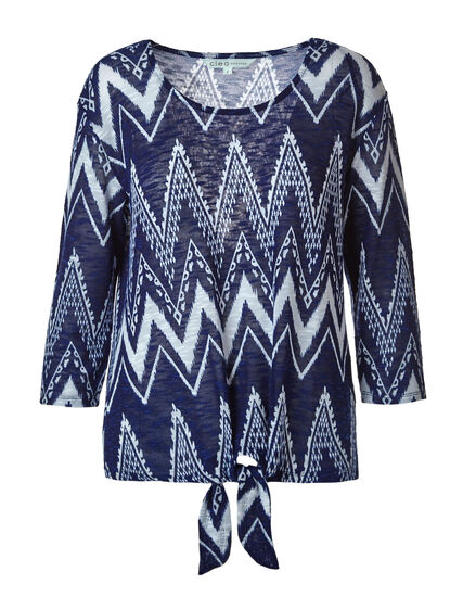 Blue Chevron Semi-Sheer Top, Blue, hi-res