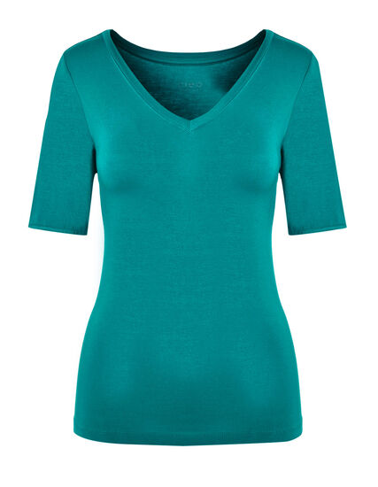 Turquoise Crochet Sleeve Tee, Summer Turquoise, hi-res