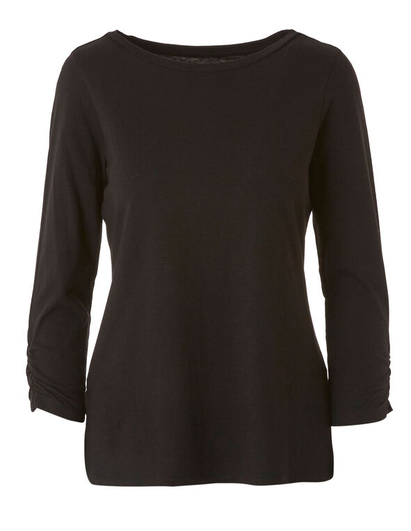 Black Ruched Sleeve Tee, Black, hi-res