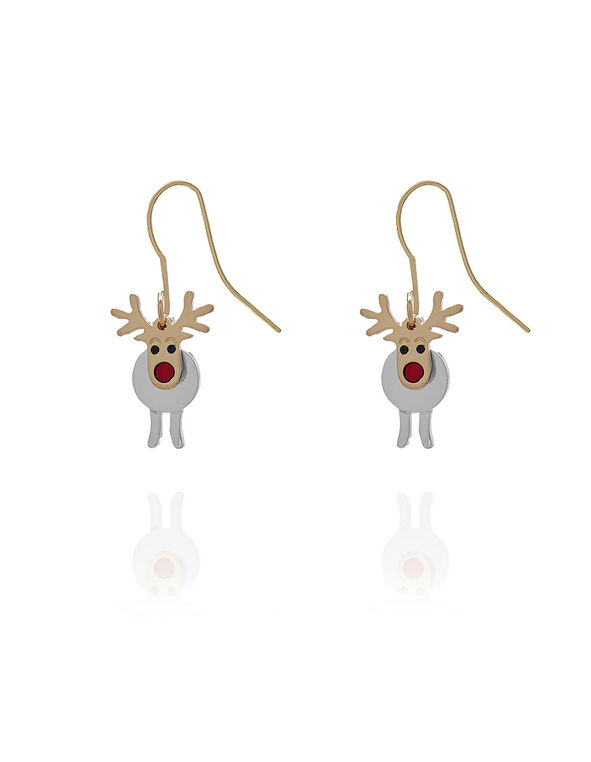 Gold Reindeer Earring, Gold/Silver, hi-res