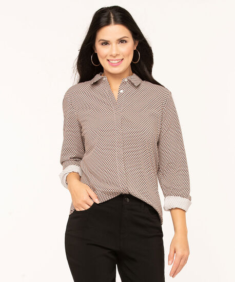 Collared Button Front Blouse, Ivory/Black/Camel/Earthen, hi-res