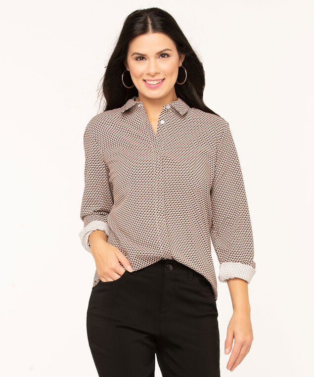 Collared Button Front Blouse, Ivory/Black/Camel/Earthen