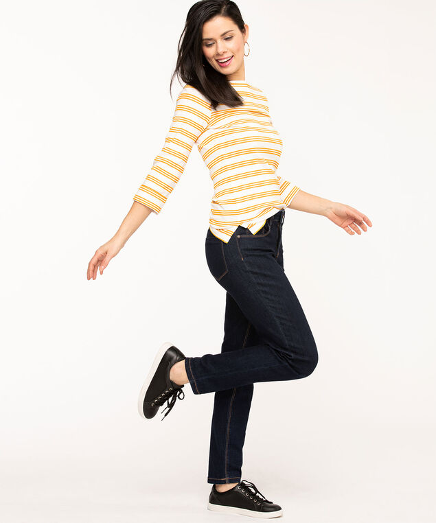 Striped 3/4 Sleeve Boat Neck Tee, Gold/Ivory