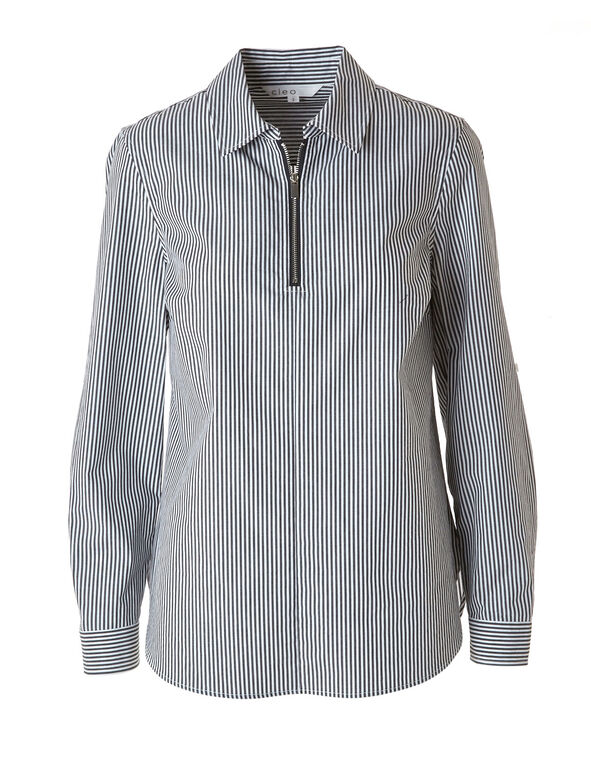 Striped Zipper Collared Blouse, Grey, hi-res
