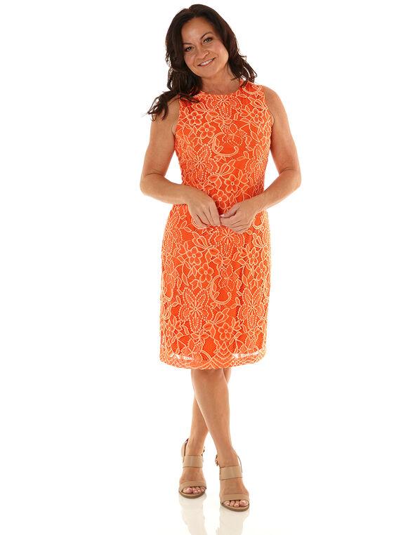 Orange Lace Overlay Sheath Dress, Orange, hi-res