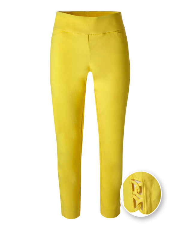 Sunshine Yellow Pull On Ankle Pant, Sunshine, hi-res