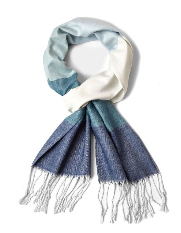 Blue Ombre Super Soft Woven Scarf, Blue, hi-res