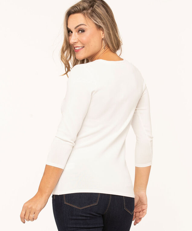 V-Neck Crepe Pullover Sweater, Ivory, hi-res