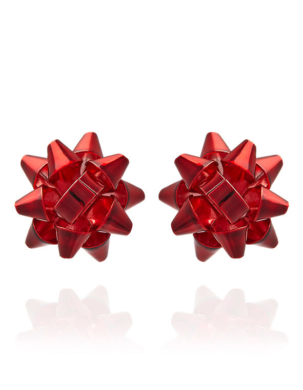 Red Bow Earring, Red, hi-res