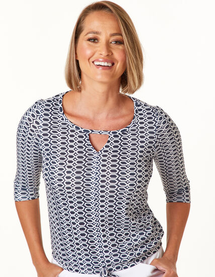 Navy Print Tie front top, Navy, hi-res