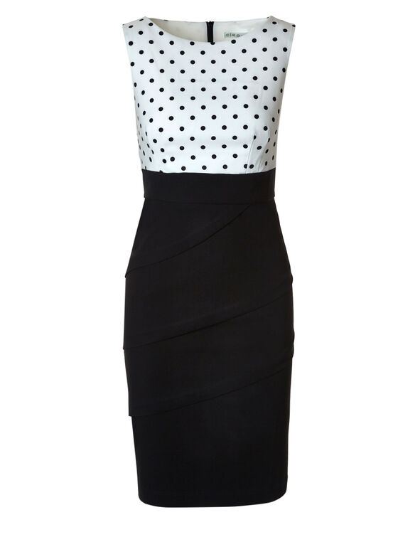 Black Polka Dot Shutter Dress, Black/White, hi-res