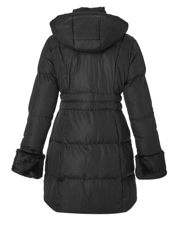 Black Faux Down Fur Jacket, Black, hi-res